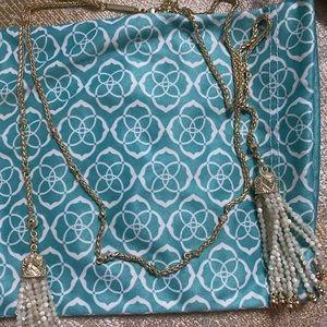 Kendra Scott Wrap Around Necklace White Tassel